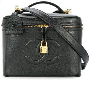 Chanel Caviar Logo Vanity Case Shoulder Bag
